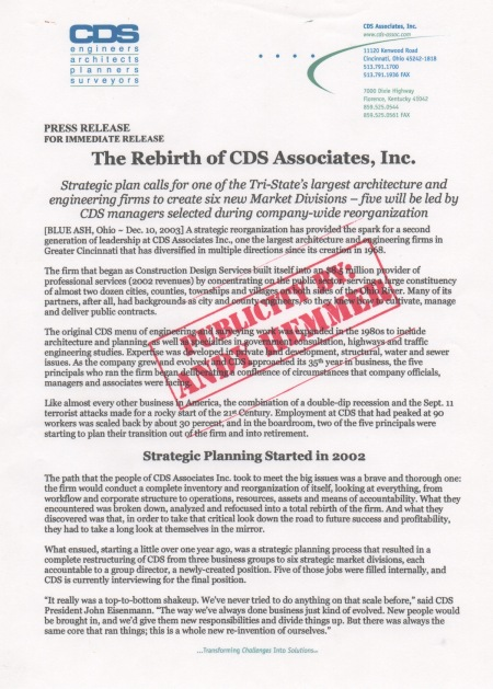 The Rebirth of CDS Associates - Press Release and PR by Andy Hemmer - Exclusive to Cincinnati Business Courier
