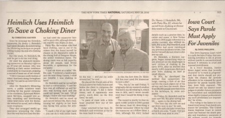 dr henry heimlich resident deupree house by episcopal retirement services ERS in New York Times PR by Andy Hemmer