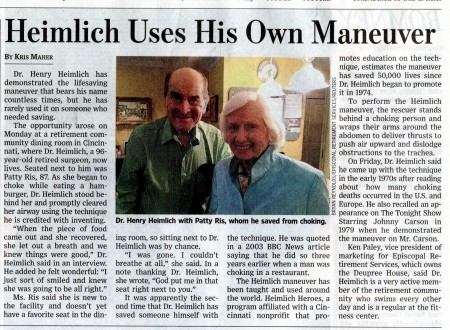dr henry heimlich resident deupree house by episcopal retirement services ERS in Wall Street Journal PR by Andy Hemmer