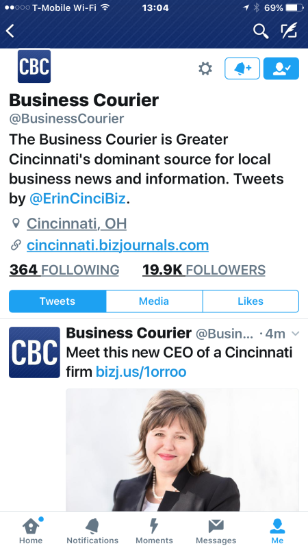 Tweet from The Cincinnati Business Courier - 1 pm on Tuesday Oct. 25 2016 ~~ story: http://www.bizjournals.com/cincinnati/news/2016/10/25/cincinnati-firm-names-next-ceo.html