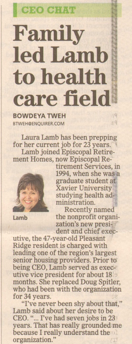 link to Sunday Enquirer story - http://www.cincinnati.com/story/money/2017/01/27/ceo-chat-strong-role-models-forged-path-laura-lamb/97047612/