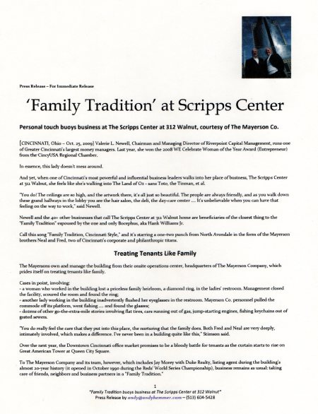 Press Release for Scripps Center at 312 Walnut and Mayerson brothers Fred and Manny