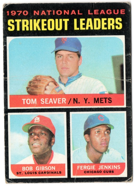 1971 Tom Seaver Topps #72 1970 Strikeouts Leader with Bob Gibson (Cardinals) and Fergie Jenkins (Cubs)