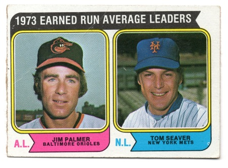 1974 Tom Seaver Topps #206 1973 ERA Leaders with Jim Palmer (Orioles)