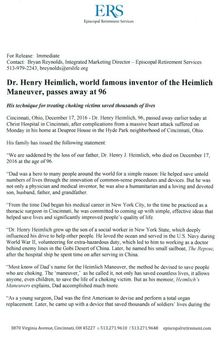 Page 1 (of 2) Official Press Release and Family Statement from http://henryheimlich.com