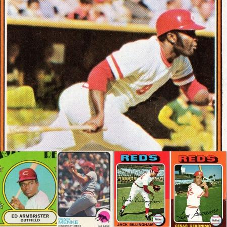 1974 Joe Morgan Topps 85 - 1975 Cesar Geronimo Topps 41 - 1975 Jack Billingham Topps 235 - 1973 Denis Menke Topps 52 - 1972 Eddie Armbrister Reds Rookie Stars Topps 524