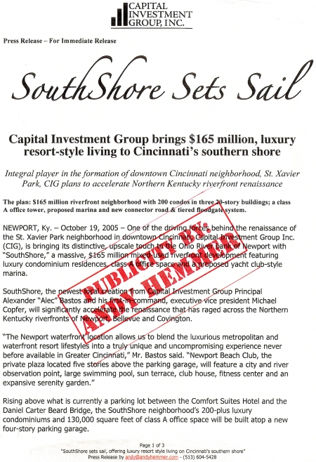 original SouthShore Press Release for Capital Investment Group CIG of Cincinnati PR by Andy Hemmer