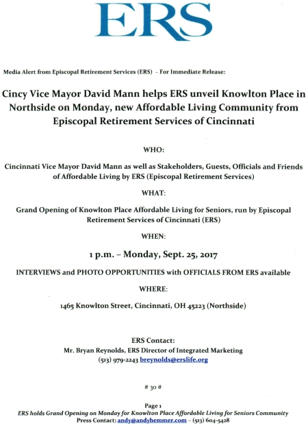 Cincinnati Vice Mayor David Mann to speak at Knowlton Place grand opening on Monday September 25 1 pm Affordable Living for Seniors by ERS