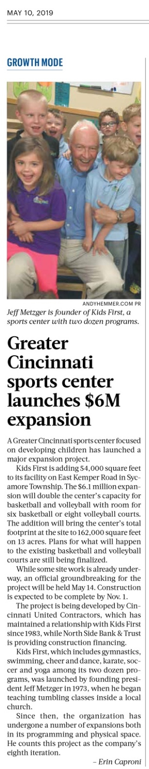 Kids First Sports in Cincinnati Business Courier PR by Andy Hemmer